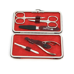 Маникюрный набор Dewal, 5 предметов, цвет красный, кожаный футляр 503DR