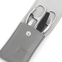 Маникюрный набор Dewal, 4 предмета, цвет серый, кожаный футляр 509GR