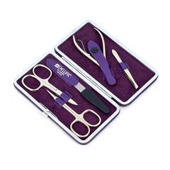 Маникюрный набор Dewal, 5 предметов, цвет фиолетовый, кожаный футляр 503VL