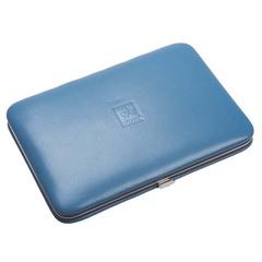 Маникюрный набор Dewal, 8 предметов, цвет голубой, кожаный футляр 506SW