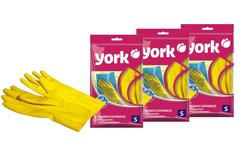 Комплект из 3 хозяйственных резиновых перчаток, размер (S) York