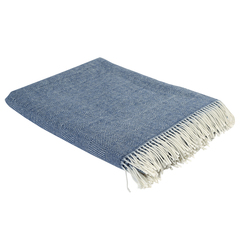 Плед из шерсти мериноса синего цвета из коллекции Essential, 130х180 см Tkano TK19-TH0008
