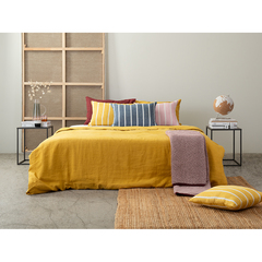 Чехол на подушку декоративный в полоску горчичного цвета из коллекции Essential, 45х45 см Tkano TK21-CC0003