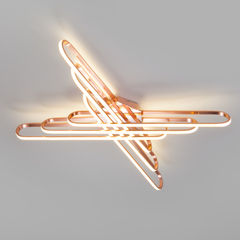 Потолочный светодиодный светильник с пультом управления Eurosvet Staple 90133/6 розовое золото