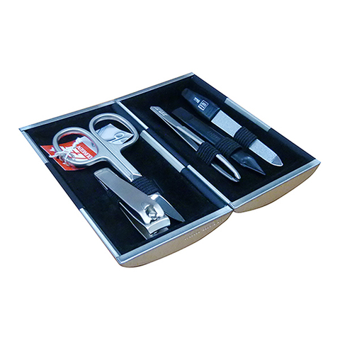 Маникюрный набор Yes, 5 предметов, цвет серебристый/черный, металлический футляр