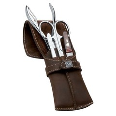 Маникюрный набор Erbe, 4 предмета, цвет коричневый, кожаный футляр 9719ER