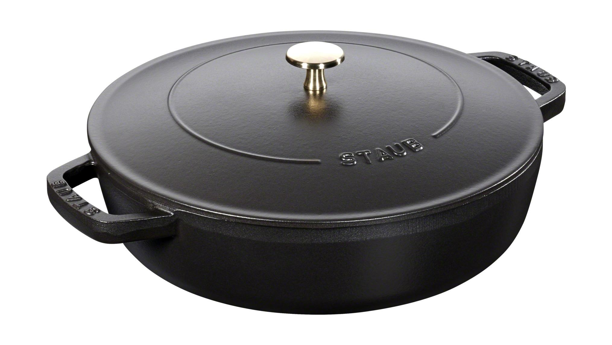 """Сотейник Staub """"чистера"""" с чугунной  крышкой, 28 см, 3,7 л, черный 12612825"""