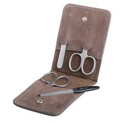 Маникюрный набор Erbe, 4 предмета, цвет коричневый, кожаный футляр 9094ER