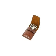 Маникюрный набор Yes, 5 предметов, цвет коричневый, кожаный футляр 9780GAR