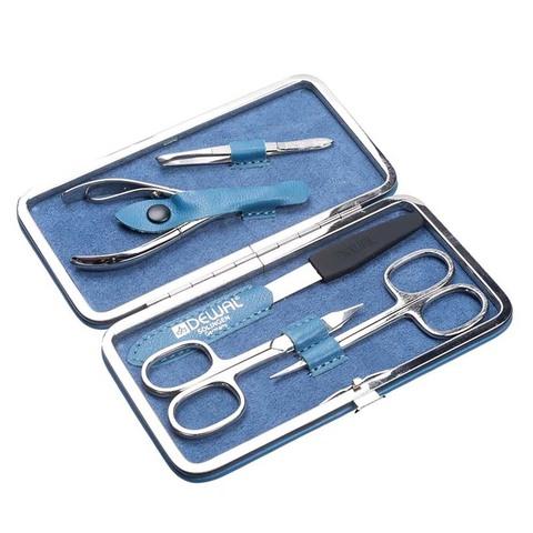 Маникюрный набор Dewal, 5 предметов, цвет голубой, кожаный футляр