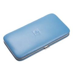 Маникюрный набор Dewal, 5 предметов, цвет голубой, кожаный футляр 503SW