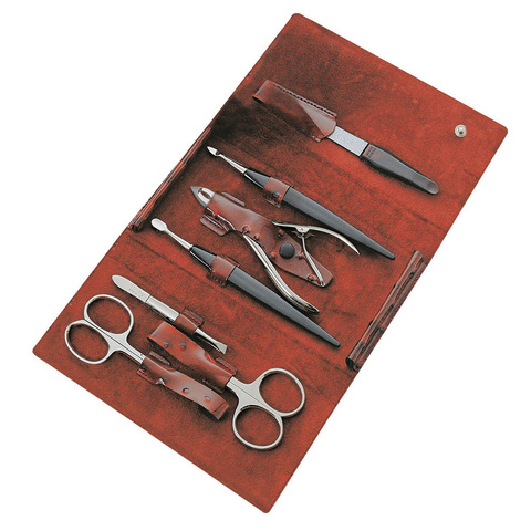 Маникюрный набор Yes, 7 предметов, цвет красный, кожаный футляр