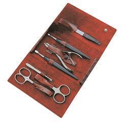 Маникюрный набор Yes, 7 предметов, цвет красный, кожаный футляр 9270GAR
