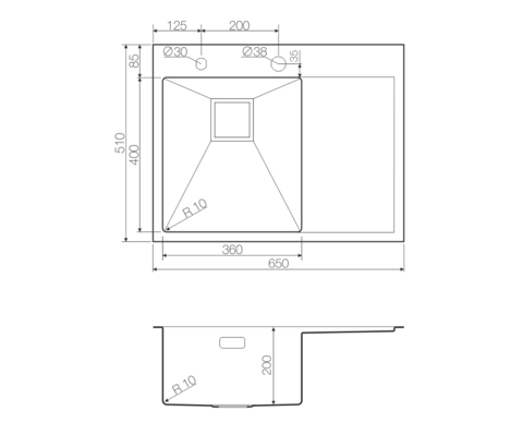 Кухонная мойка из нержавеющей стали OMOIKIRI Akisame 65-GM-L (4993097)