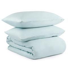 Комплект постельного белья двуспальный из сатина голубого цвета из коллекции Essential Tkano TK20-DC0050