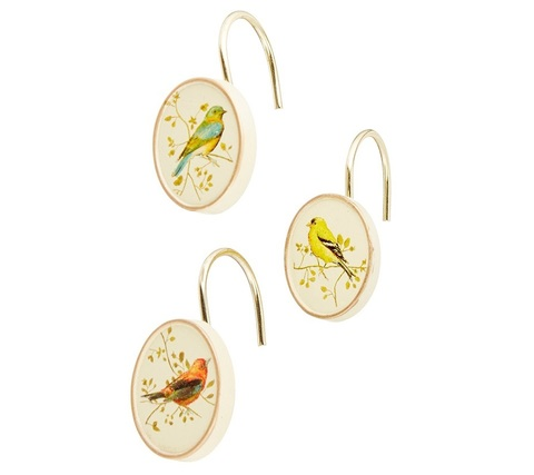 Набор из 12 крючков для шторки Avanti Gilded Birds 11984G