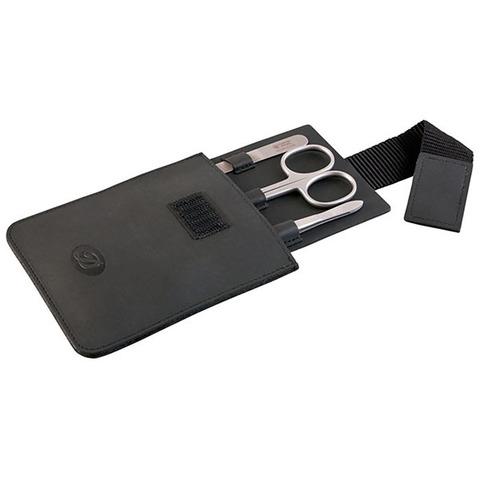Маникюрный набор Dovo, 3 предмета, цвет черный, кожаный футляр 1002016