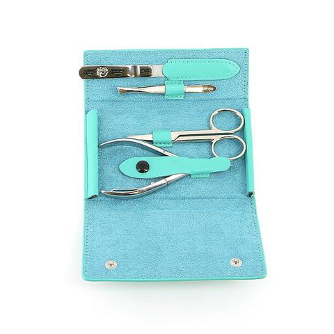Маникюрный набор GD, 4 предмета, цвет бирюзовый, кожаный футляр 1510GRN