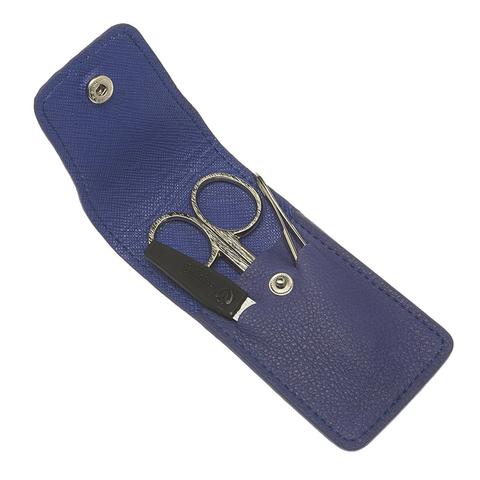 Маникюрный набор GD, 3 предмета, цвет синий, кожаный футляр 1503BON