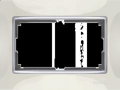 Рамка для двойной розетки (слоновая кость/хром) WL03-Frame-01-DBL-ivory Werkel