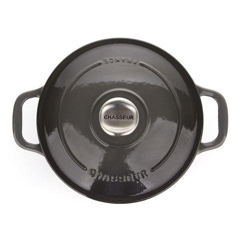 Кастрюля с крышкой чугунная 20 см (2,3л), с эмалированным покрытием, CHASSEUR Caviar (цвет: cеребристо-черный) арт. 472089
