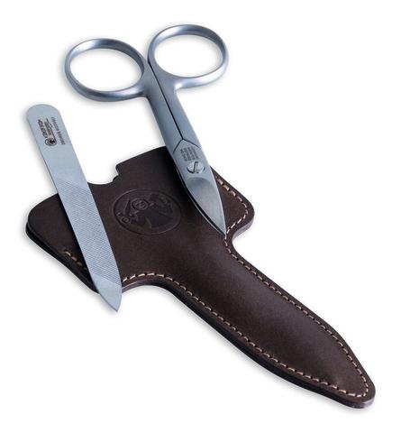 Маникюрный набор Dovo, 2 предмета, цвет коричневый, кожаный футляр 1047056