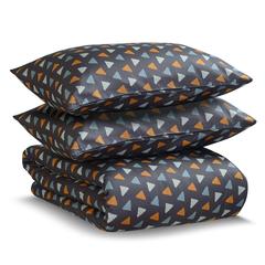 Комплект постельного белья двуспальный из сатина мятного цвета с принтом Triangles из коллекции Wild Tkano TK20-DC0023