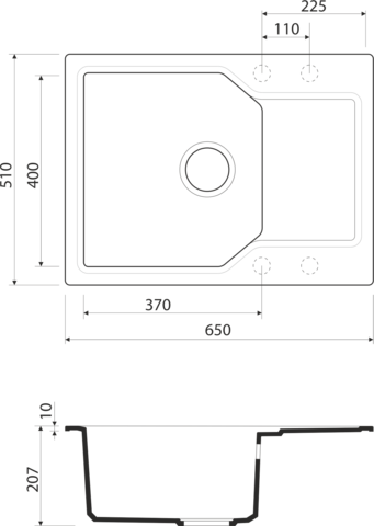Кухонная мойка из искусственного гранита (Artgranit) OMOIKIRI Yonaka 65-PA (4993344)
