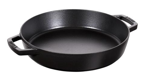 Сковорода Staub круглая, 26 см, с чугунными ручками, черная 12232623