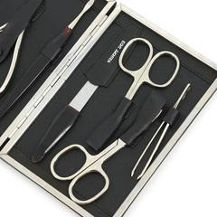 Маникюрный набор Dewal, 8 предметов, цвет черный, кожаный футляр 506BK