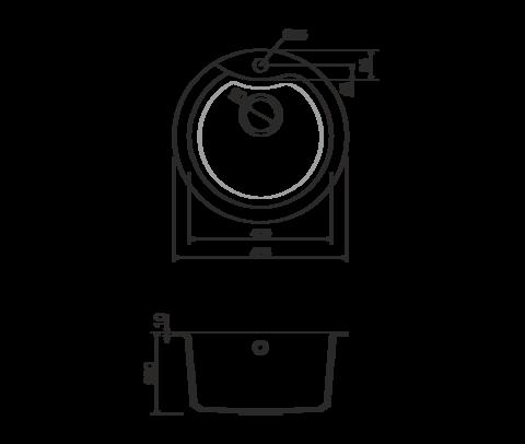 Кухонная мойка из искусственного гранита (Tetogranit) OMOIKIRI Yasugata 48R-BL (4993130)