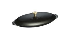 Сковорода Staub овальная для рыбы, 31 см, с чугунной крышкой, черная 1332125