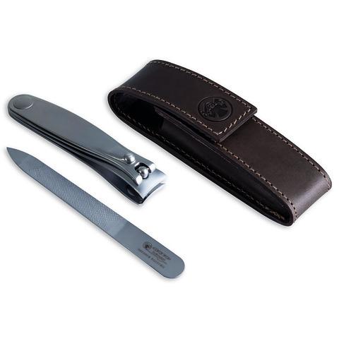 Маникюрный набор Dovo, 2 предмета, цвет коричневый, кожаный футляр 4048056