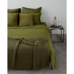 Комплект постельного белья двуспальный из сатина оливкового цвета из коллекции Wild Tkano TK20-DC0040
