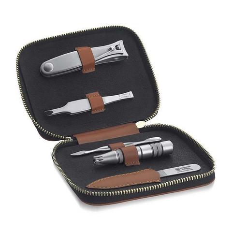 Маникюрный набор Dovo, 5 предметов, цвет коричневый, кожаный футляр 407066