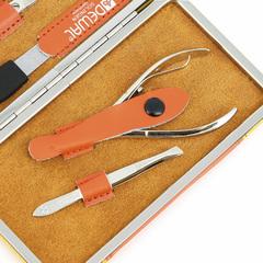 Маникюрный набор Dewal, 7 предметов, цвет желтый/оранжевый, кожаный футляр 504YO