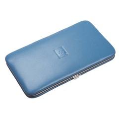 Маникюрный набор Dewal, 7 предметов, цвет голубой, кожаный футляр 504SW