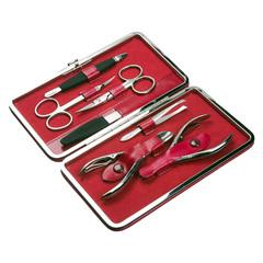 Маникюрный набор GD, 7 предметов, цвет розовый, кожаный футляр 1544CH