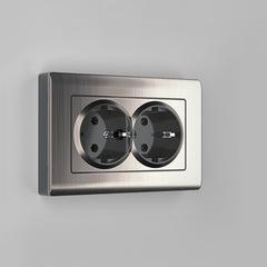 Рамка для двойной розетки (глянцевый никель) WL02-Frame-01-DBL Werkel