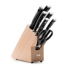 Набор из 5 кухонных ножей, мусата, ножниц и подставки WUSTHOF «Classic Ikon» арт.1090370701
