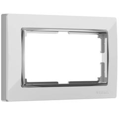 Рамка для двойной розетки (белый/хром) WL03-Frame-01-DBL-white Werkel