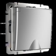 Розетка влагозащ. с зазем. с защит. крышкой и шторками  (серебряный) WL06-SKGSC-01-IP44 Werkel