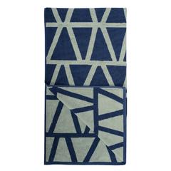 Полотенце жаккардовое банное с авторским дизайном Geometry серо-синее Wild, 70х140 см Tkano TK19-BT0001