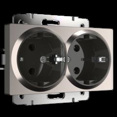 Розетка двойная с заземлением (глянцевый никель) WL02-SKG-02-IP20 Werkel