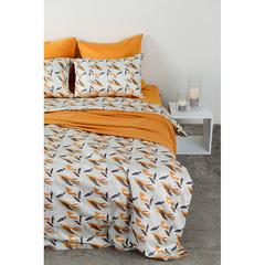 Комплект постельного белья двуспальный из сатина темно-серого цвета в принтом Birds of Nile из коллекции Wild Tkano TK20-DC0024