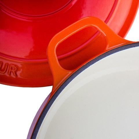 Кастрюля с крышкой чугунная 22 см (3,1л), с эмалированным покрытием, CHASSEUR Orange (цвет: оранжевый) арт. 372207
