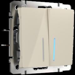 Выключатель двухклавишный с подсветкой (слоновая кость) WL03-SW-2G-LED-ivory Werkel