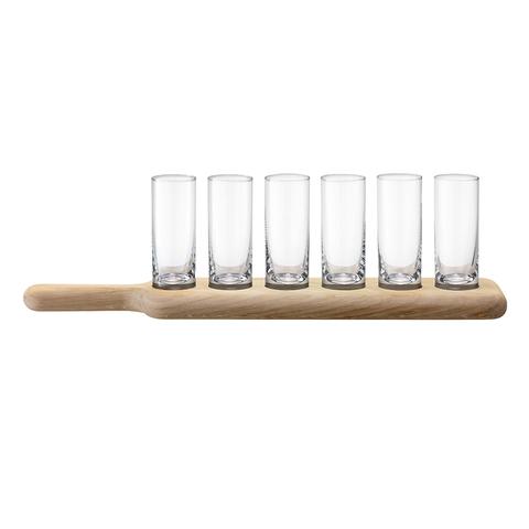 Набор из 6 стопок и деревянной подставки Paddle 40 см прозрачное стекло LSA G1049-03-301
