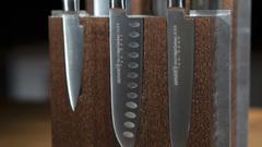 Комплект №2 из 6 ножей Samura Mo-V и коричневой подставки