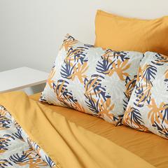Комплект постельного белья двуспальный из сатина цвета шафрана с принтом Leaves из коллекции Wild Tkano TK20-DC0025